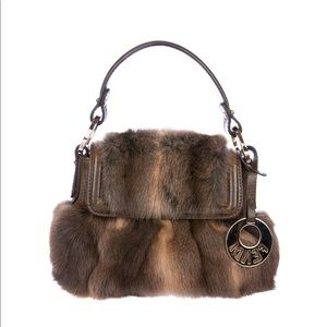 Fendi Mini Chef Flap Rabbit Fur Handbag Tote